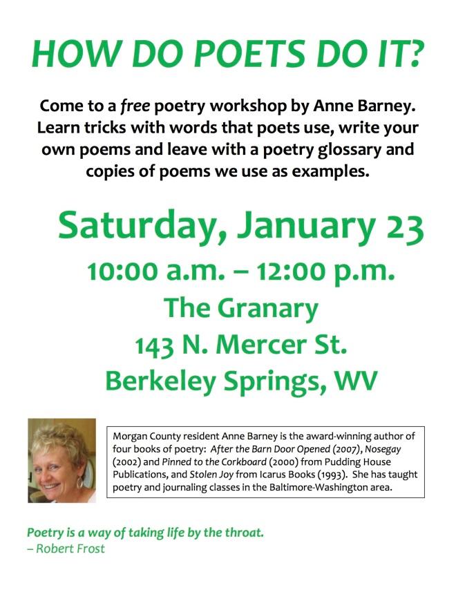 Flier for poetry class no register info