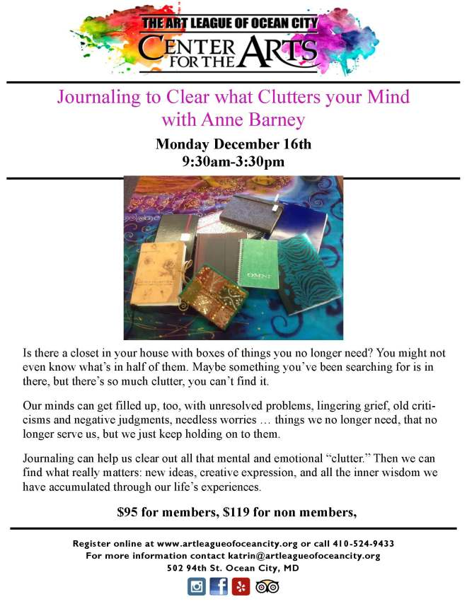 Flyer Dec 16 Journaling to clear your mind Anne Barney